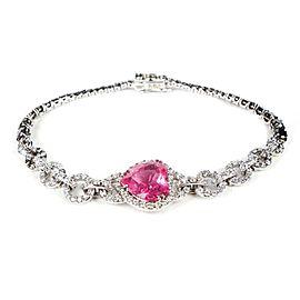 Marco Valentee - Pink Tourmaline Heart - Black/ White Diamond Bracelet