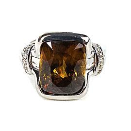 Sphene Brown Gemstone Ring - Diamond - 14K White Gold - Size 6.5