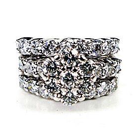 3 Ring Diamond Wedding Band Set - 4 Carats Total - 14k White Gold - Size 8