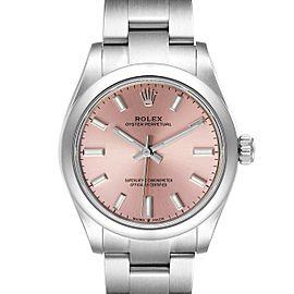 Rolex Midsize 31mm Pink Dial Automatic Steel Ladies Watch 277200 Unworn