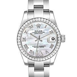 Rolex Datejust Midsize Steel White Gold MOP Diamond Watch 178384