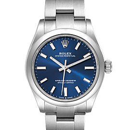 Rolex Midsize 31mm Blue Dial Automatic Steel Ladies Watch 277200 Unworn