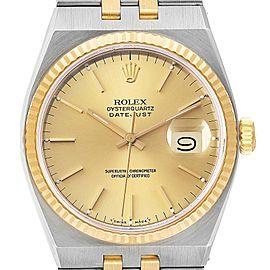 Rolex Oysterquartz Datejust Steel Yellow Gold Watch 17013 Box Service Card