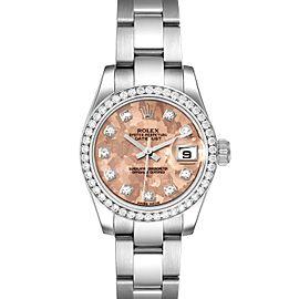 Rolex Datejust Steel Pink Gold Crystal Diamond Ladies Watch 17938
