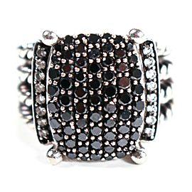 David Yurman - Black Diamond Ring - Sterling Silver - Wheaton - US 7