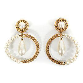 Chanel - Large Pearl Hoop Earrings Vintage - Gold Clip Ons