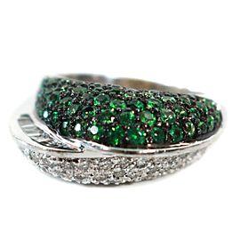 Sonia B Ring - Green Tsavorite - White Diamonds - 14K White Gold - US 6.5