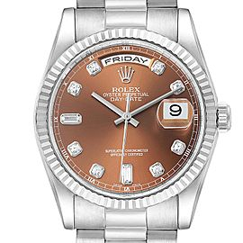 Rolex President Day-Date White Gold Bronze Diamond Dial Mens Watch 118239