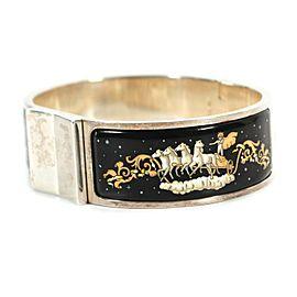 Hermes - Silver Enamel Bracelet - Horse + Chariot Print - Black