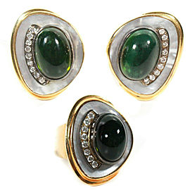 Ring & Earrings Set - 0.75 TCW Diamond Green Tourmaline 14K Gold - 40 grams US 6