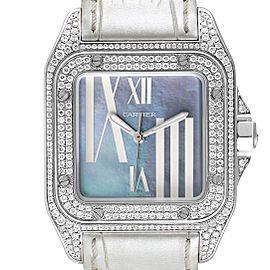 Cartier Santos 100 White Gold Blue MOP Dial Diamond Ladies Watch WM503251