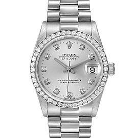 Rolex President Datejust Midsize Platinum Diamond Watch 68286