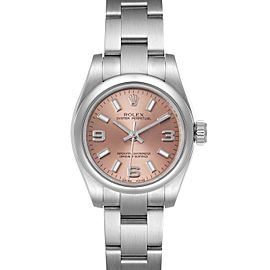 Rolex Nondate Salmon Dial Oyster Bracelet Steel Ladies Watch 176200