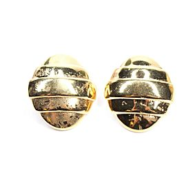 YSL - Vintage Earrings - Yves Saint Laurent - Oval Shaped Clip On - Gold
