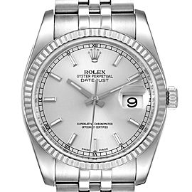 Rolex Datejust Steel White Gold Silver Dial Mens Watch 116234