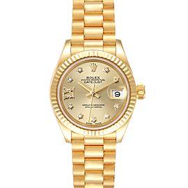Rolex President Datejust Yellow Gold Diamond Ladies Watch 279178