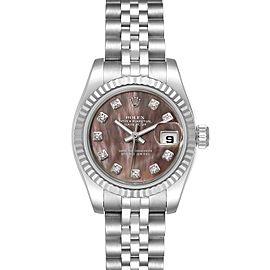 Rolex Datejust 26 Steel White Gold MOP Diamond Ladies Watch 179174