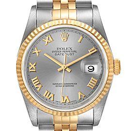 Rolex Datejust Steel Yellow Gold Slate Roman Dial Watch 16233
