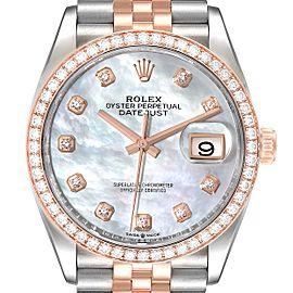 Rolex Datejust 36 Steel Rose Gold MOP Diamond Unisex Watch 126281 Unworn