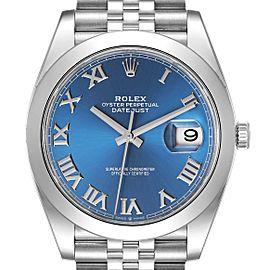 Rolex Datejust 41 Blue Roman Dial Steel Mens Watch 126300 Unworn