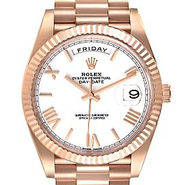 Rolex Day-Date 40 President Rose Gold White Dial Mens Watch 228235 Unworn