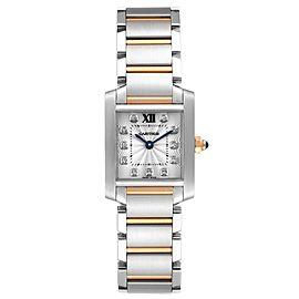 Cartier Tank Francaise Steel Rose Gold Diamond Ladies Watch WE110004