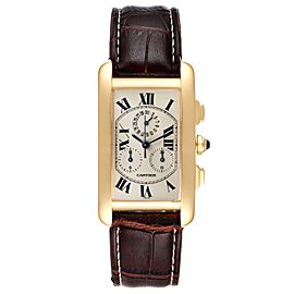 Cartier Tank Americaine Chronograph Yellow Gold Mens Watch W2601156