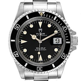 Tudor Submariner Prince Oysterdate Black Dial Steel Mens Watch 79090 Papers