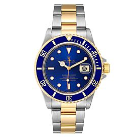 Rolex Submariner Blue Dial Steel Yellow Gold Mens Watch 16613