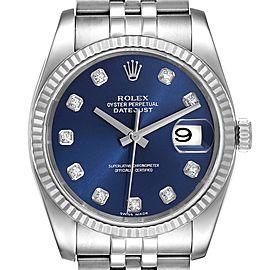 Rolex Datejust Steel White Gold Blue Diamond Dial Mens Watch 116234
