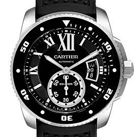 Cartier Calibre Diver Black Rubber Strap Steel Mens Watch W7100056