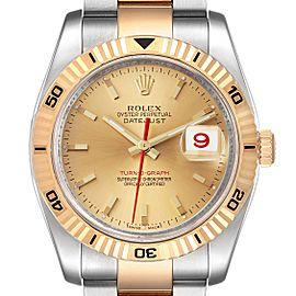Rolex Datejust Turnograph Steel Yellow Gold Mens Watch 116263