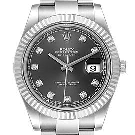 Rolex Datejust II 41mm Steel White Gold Diamond Mens Watch 116334