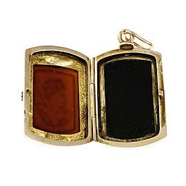 14K Rose Gold Carved Carnelian Hardstone Locket Pendant