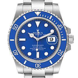 Rolex Submariner White Gold Blue Dial Ceramic Bezel Watch 116619