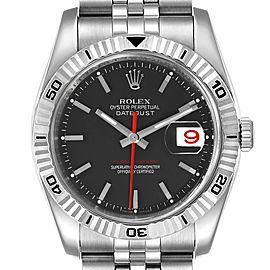 Rolex Datejust Turnograph Black Dial Steel Mens Watch 116264