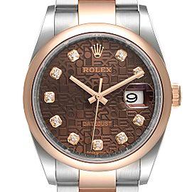 Rolex Datejust 36 Steel EveRose Gold Diamond Mens Watch 126201
