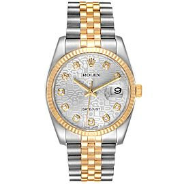 Rolex Datejust Steel Yellow Gold Diamond Dial Mens Watch 116233 Box Papers