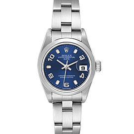 Rolex Date 26 Blue Dial Domed Bezel Steel Ladies Watch 79160