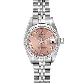 Rolex Datejust 26 Steel White Gold Salmon Dial Ladies Watch 79174 Box Papers