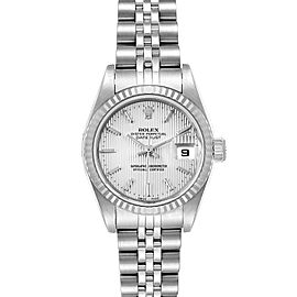 Rolex Datejust 26 Steel White Gold Silver Tapestry Dial Watch 79174