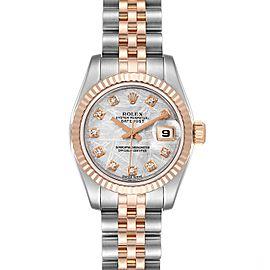 Rolex Datejust Steel EveRose Gold Meteorite Diamond Watch 179171 Box Papers