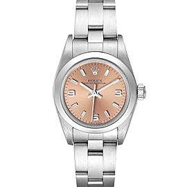 Rolex Oyster Perpetual Salmon Dial Domed Bezel Steel Watch 76080 Box Papers