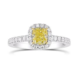 Leibish 18K White and Yellow Gold Fancy Intense Yellow Cushion Diamond Halo Ring Size 6.50