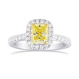 Leibish 18K White and Yellow Gold Fancy Yellow Cushion Diamond Halo Ring Size 6.5