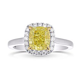 Leibish 18K White and Yellow Gold Fancy Yellow Cushion Diamond Halo Ring Size 6.50