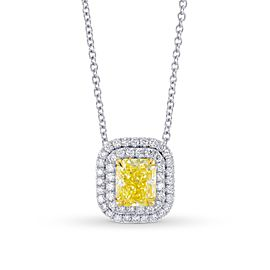 Leibish 18K White and Yellow Gold Fancy Intense Yellow Diamond Double Halo Pendant
