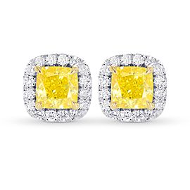 Leibish 18K White and Yellow Gold Fancy Intense Yellow Cushion Diamond Halo Earrings
