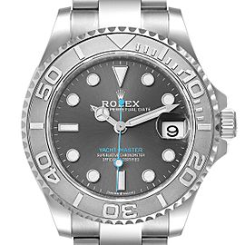 Rolex Yachtmaster 37 Midsize Steel Platinum Mens Watch 268622 Unworn
