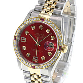 Rolex Mens Datejust Watch Two-tone Red Arabic Diamond Dial Diamond Bezel 36mm